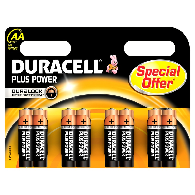 BATTERI DURACELL PLUS POWER AA (8)
